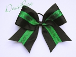 Basic Cheer Bow Black with Green Glitter Stripe
