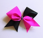 Hot Pink  and Black Tick Tock Bling Bow