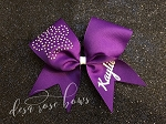 Customized Bow with Rhinestone Paw Print - Available in multiple colors