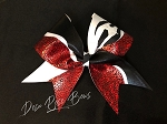 Super Star Cheer Bow in Red, Black, White, & Zebra