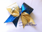 Bling Bow in Gold and Blue with Custom initial