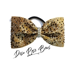 Bringing the Bling Tailless Rhinestone Bow~Gold with Crystal, Gold, & Black Rhinestones