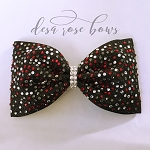 Bringing the Bling Tailless Rhinestone BowBlack with Red, Clear, & Gunmetal Rhinestones