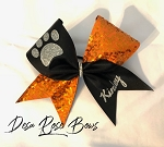 Black and Orange Sequin bow with glitter paw print and custom name
