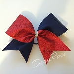Navy & Glitter Red  Bow