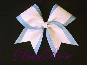 Light Blue and White Glitter Bow