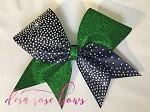 Green and Navy Bling Cheer Bow