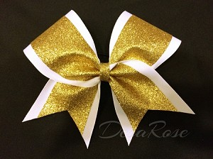 White and Gold Glitter Bow