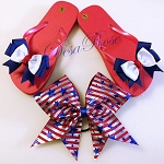 Patriotic Sandals and Cheer bow
