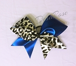Blue and Silver Cheetah Tick Tock Bow